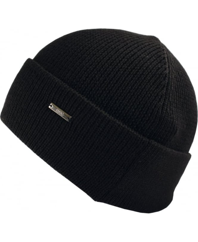 Hugo Black Xiann Side Logo Beanie