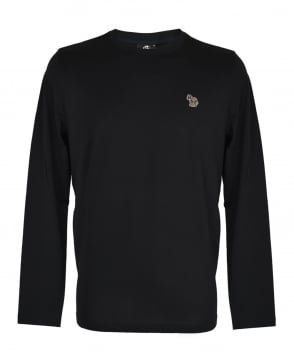 PS By Paul Smith Black Zebra Embroidered Chest Logo Long Sleeve T-shirt