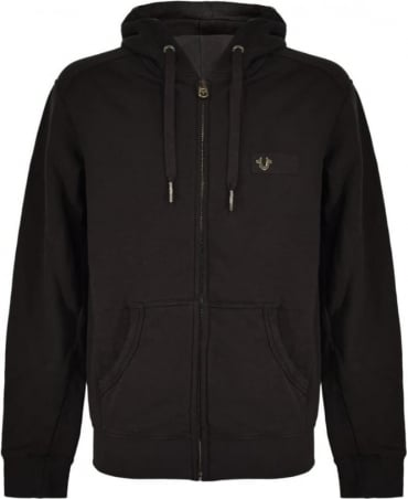True Religion Black Zip Up Hooded Sweatshirt