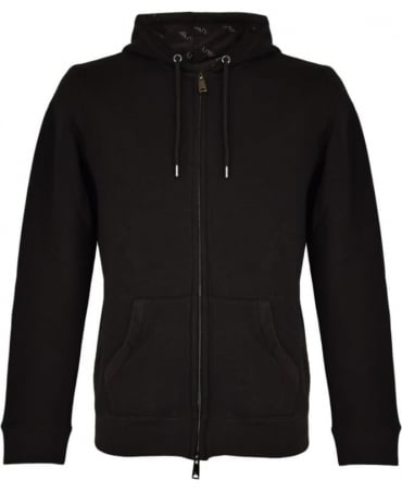 Armani Jeans Black Zip Up Hooded Sweatshirt