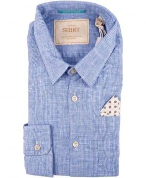 Scotch & Soda Blue 1501-02.20007 Check Linen Blend Shirt