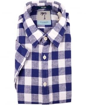 Scotch & Soda Blue 1501-03.21124 Check Short Sleeve Shirt