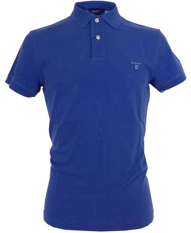 Gant Blue 252105 Contrast Collar Pique Polo