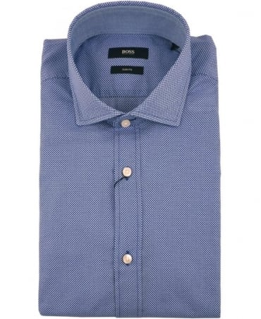 Hugo Boss Blue 50308431 Ridley_2 Dot Pattern Cut Away Collar Shirt