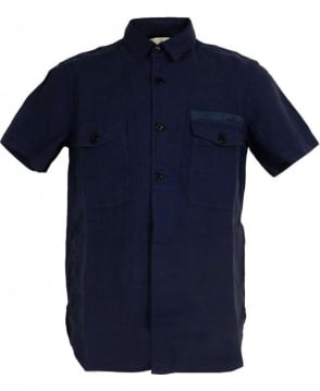 Stone Island Blue 62151FA01 Two pocket Short Sleeve Linen Shirt