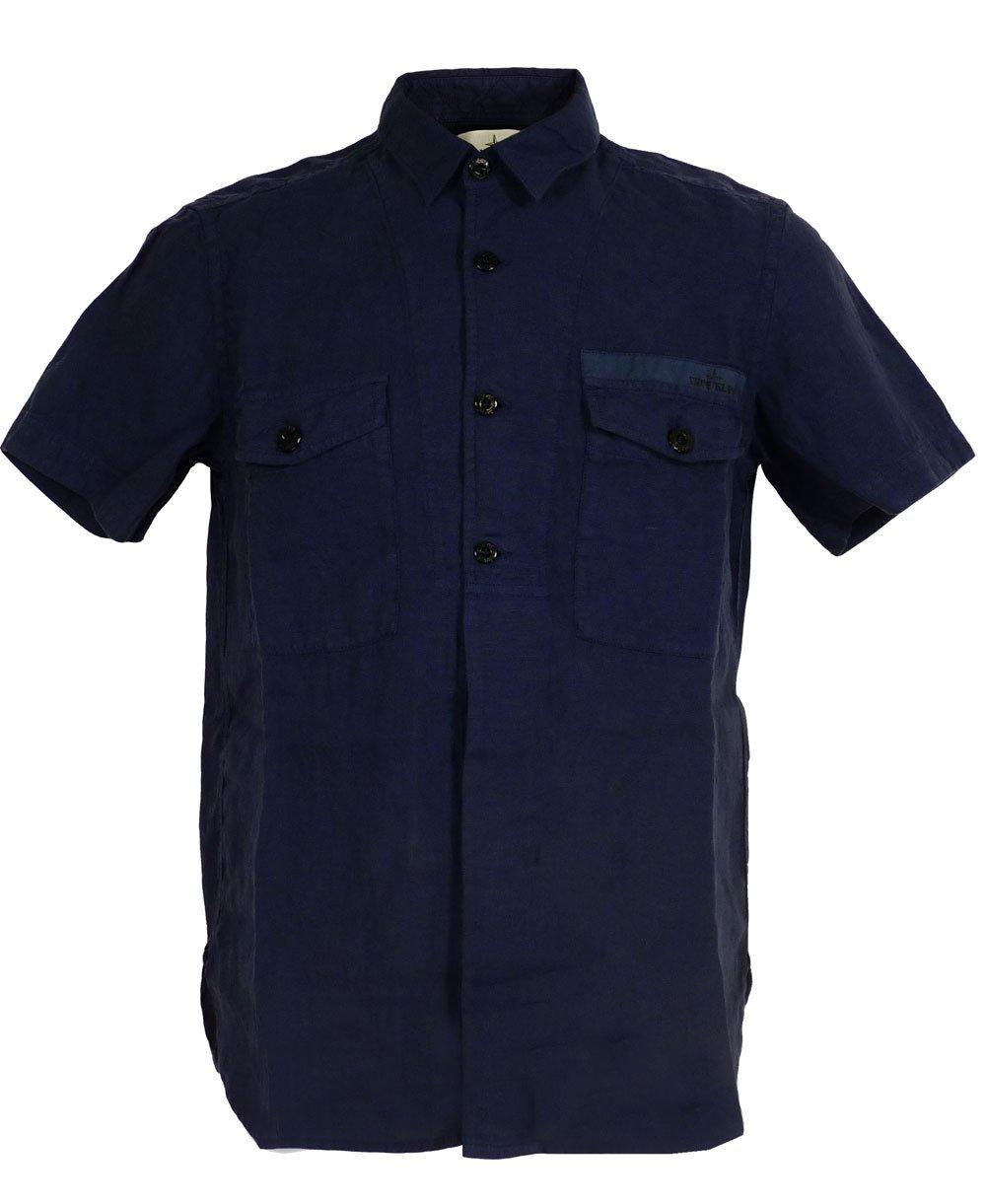 Stone island blue 62151fa01 two pocket short sleeve linen for Short sleeve linen shirt