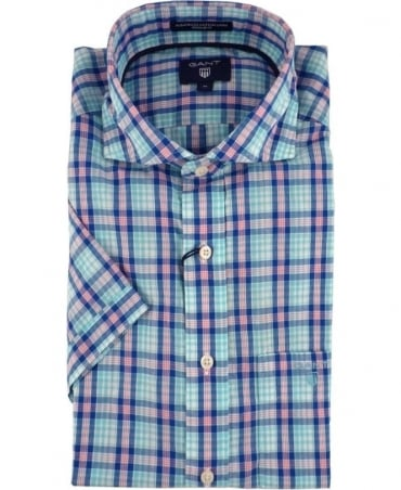 Gant Blue Albatross Linen Blend Short Sleeve Shirt