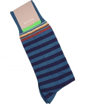 Paul Smith  Blue APXA-380A-F602 Top Stripe Socks