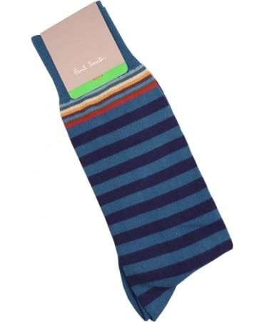 Paul Smith - Accessories Blue APXA-380A-F602 Top Stripe Socks
