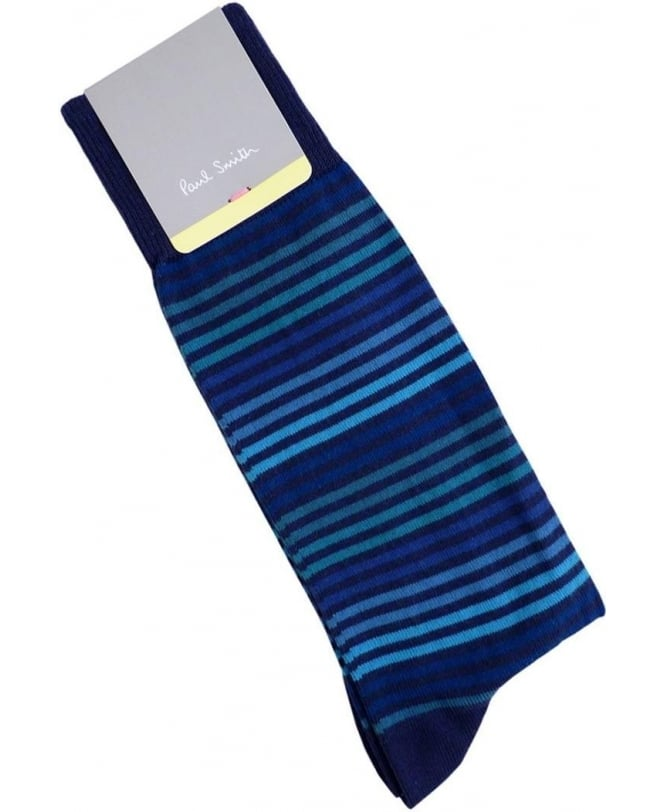 Paul Smith Blue APXA-380A-K155 Tonal Stripe Socks