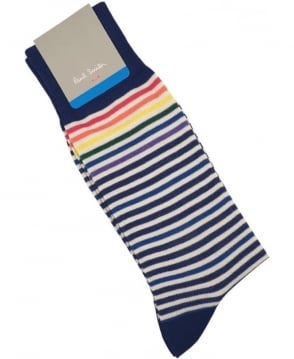 Paul Smith - Accessories Blue APXA-800E-K138 PS Fine Stripe Socks
