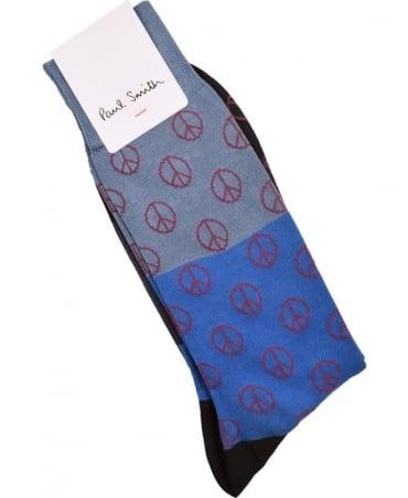 Paul Smith  Blue ARXC-800E-K324 Gradient Peace Socks