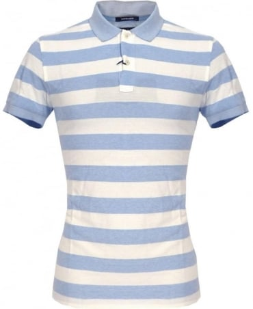 Gant Blue Barstripe Oxford Pique Rugger Polo