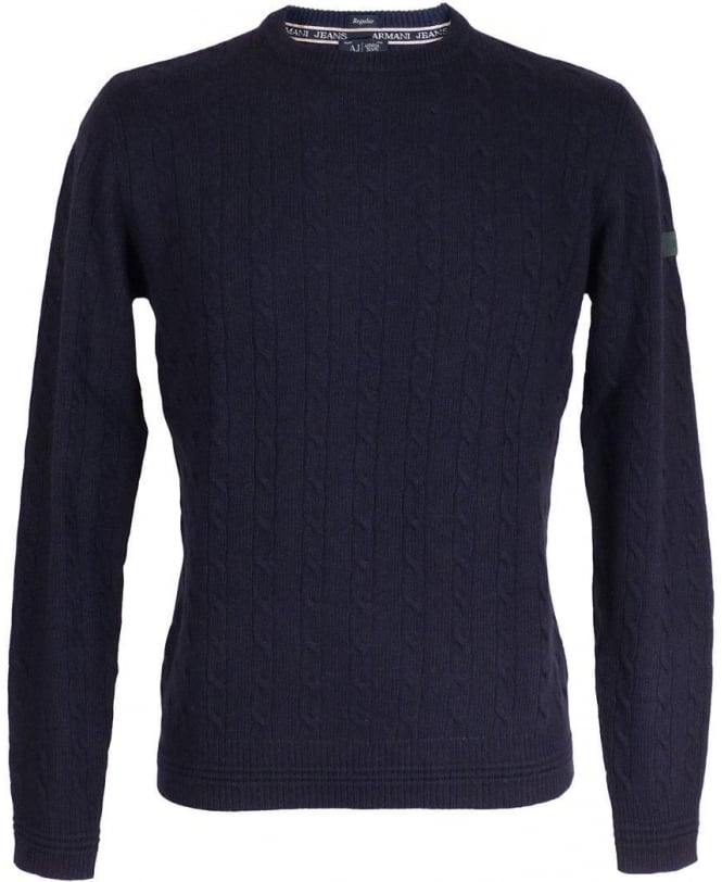 Armani Jeans Blue Cable Knit Regular Fit Jumper