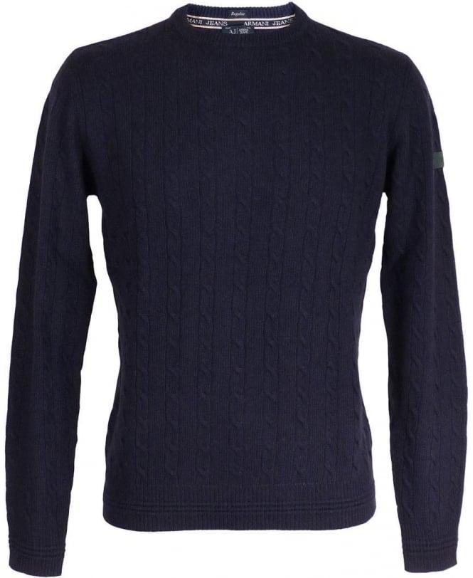 Armani Blue Cable Knit Regular Fit Jumper
