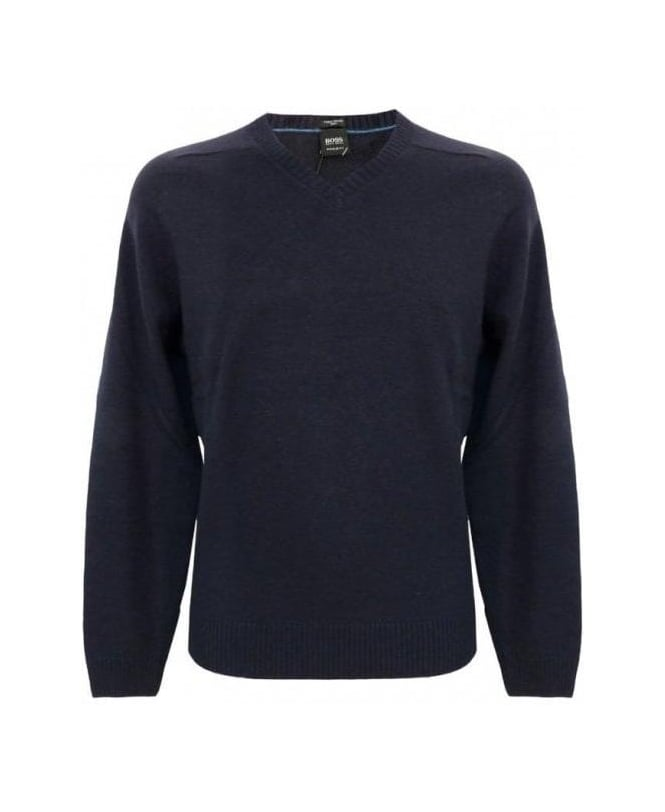 Hugo Boss Blue Cashmere Mix V-Neck Naclyn Jumper