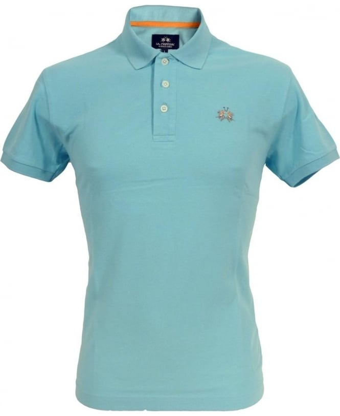 La Martina Blue CCMP02 Slim Fit Chest Logo Polo