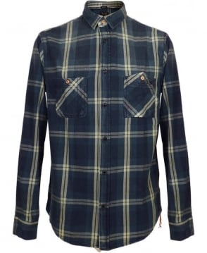 Armani Blue Check Denim Regular Fit Shirt