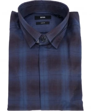 Hugo Boss Blue Check Loren Slim Fit Shirt