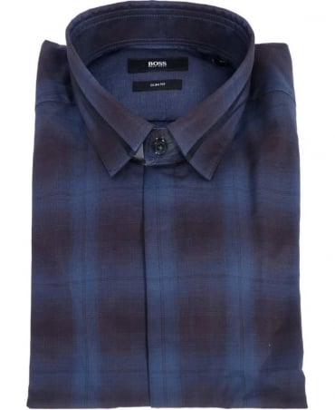 Hugo Boss Blue Check Loren Slim Fit Shirt