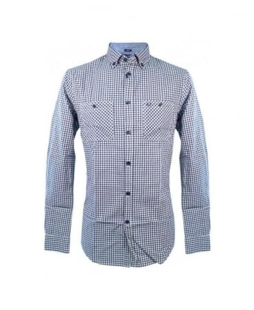 Armani Blue Check Slim Fit Shirt U6C09 ZL