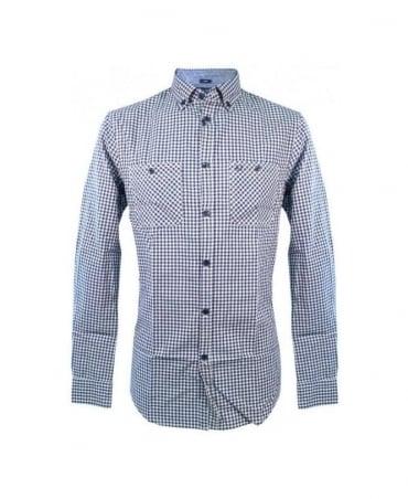 Armani Blue Check Slim Fit Shirt U6C09 ZL