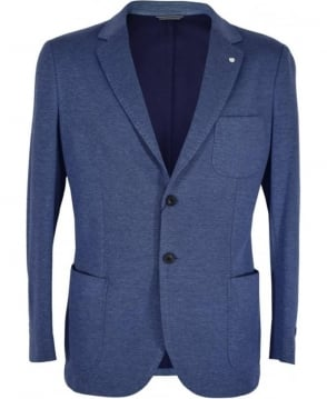 Gant Blue Cotton Piqué Single Breast Jacket