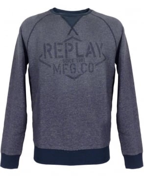 Replay Blue Crew Neck M6580 Sweatshirt