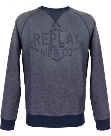 Replay Blue Crew Neck M6580 Sweatshirt