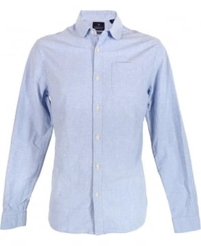 Scotch & Soda Blue Dandy Round Collar Shirt