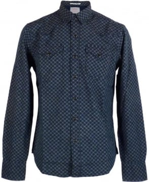 Replay Blue Denim Circle Pattern Shirt