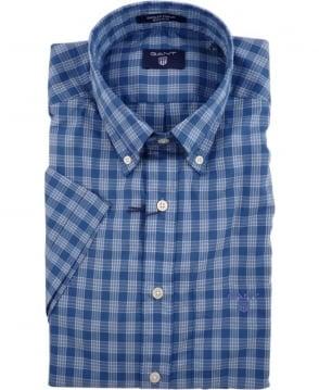 Gant Blue Dogleg Poplin Check Short Sleeve Shirt