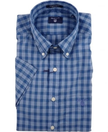 Gant Blue Dogleg Poplin Check Short Sleeve Shirt