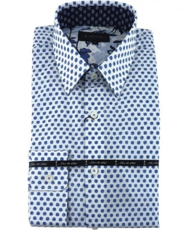 1 ...Like No Other Blue Dot Printed Shirt