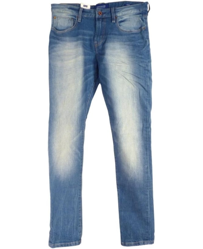 Scotch & Soda Blue Fade 125111 Stretch Zip Fly Five Pocket Skim Jeans