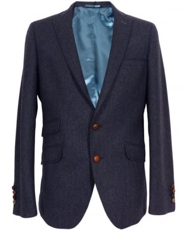 Holland Esquire Blue Fine Herringbone Gents Pipe Jacket