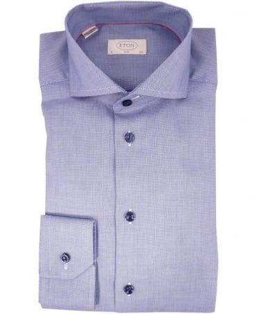 Eton Shirts Blue Fine Pattern Slim Fit Shirt