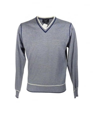 Hackett Blue Fine Stripe V Jumper