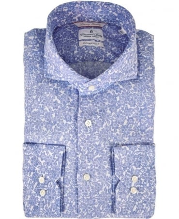 Emanuel Berg Blue Floral Modern Fit Shirt