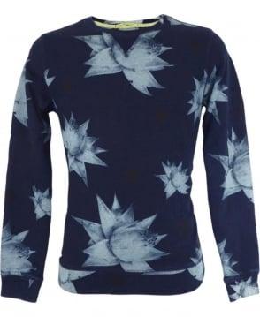 Scotch & Soda Blue Floral Pattern Sweatshirt