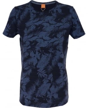 Hugo Boss Blue Floral Pattern 'Tinus' T/Shirt