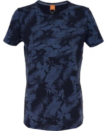 Hugo Boss Blue Floral Pattern 'Tinus' T/Shirt
