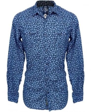 Diesel Blue Floral Print Sulpher Shirt