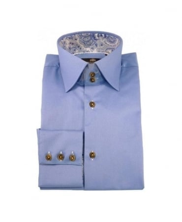 Circle of Gentlemen Blue Florian Pattern Trim 4721 Shirt