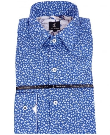 1 ...Like No Other Blue Flower Pattern Shirt 2774S