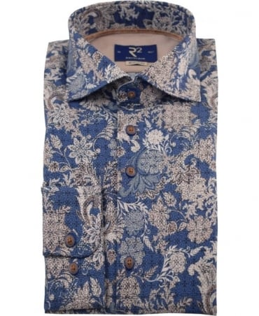 R2 Westbrook Blue Flower Print 90.WSP04 Shirt