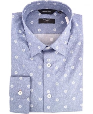 Paul Smith - London Blue Foral Print Gents Formal Shirt