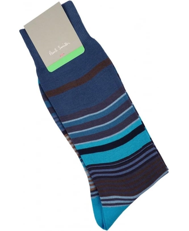 Paul Smith - Accessories Blue Fuel Stripe Socks
