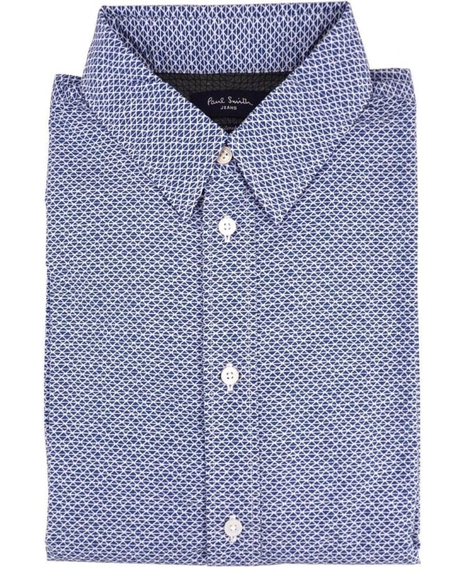 Paul Smith Blue Geodesic Tailored-Fit Shirt