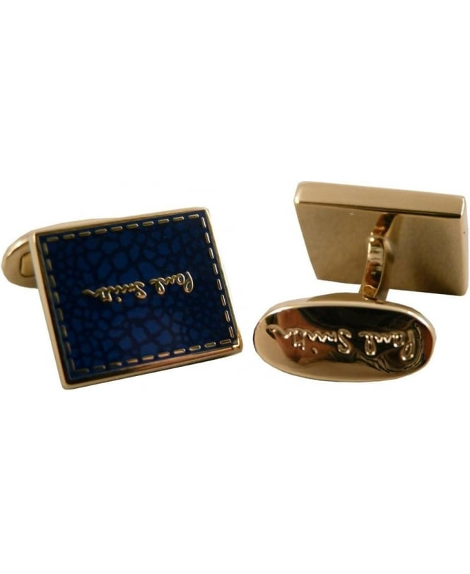 Paul Smith - Accessories Blue & Gold ANXA/CUFF/STITC Stitch Logo Cufflink